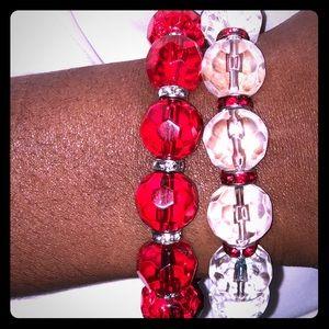 Jewelry - Red/white beaded bracelet